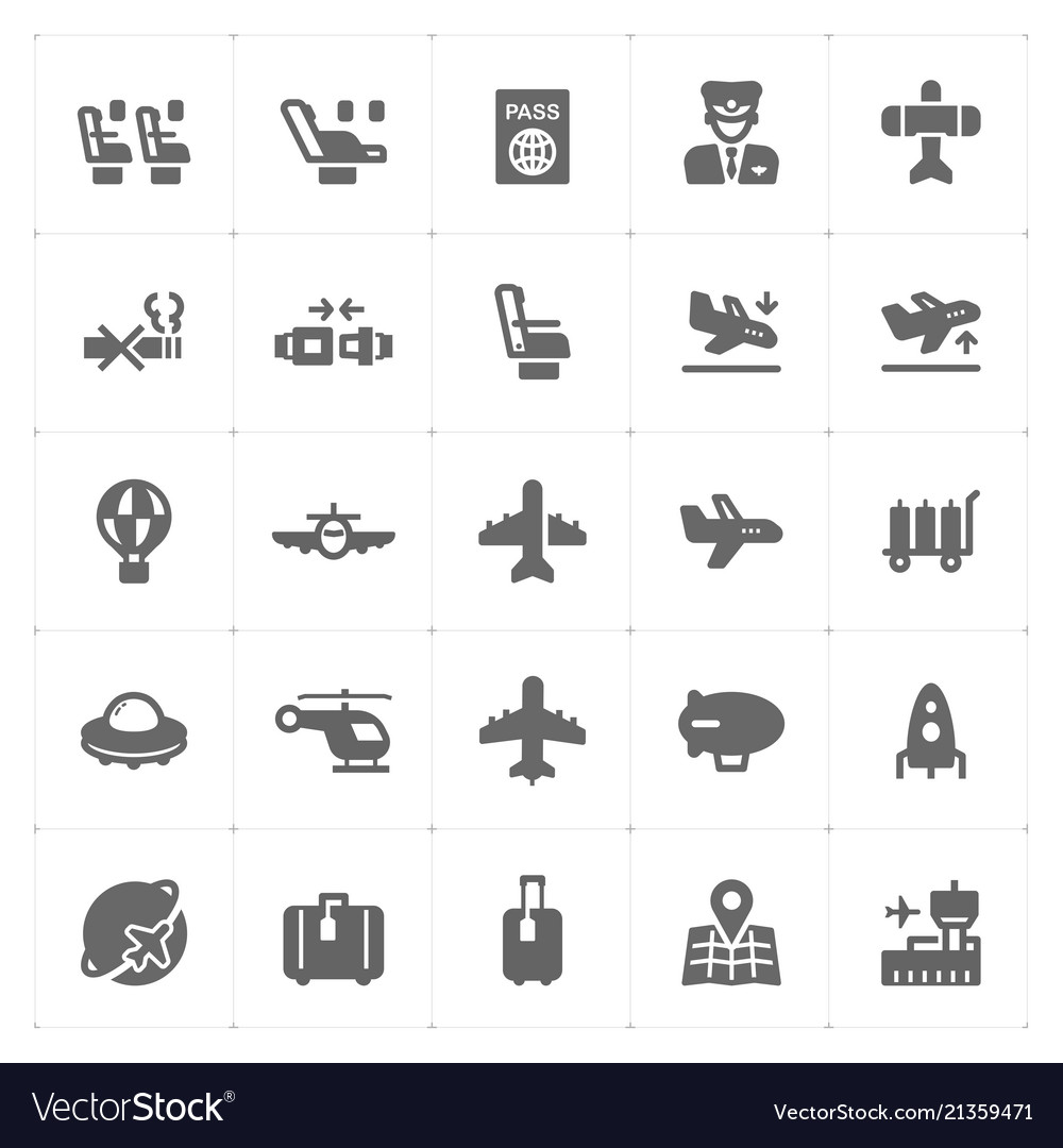 Icon set - airplane and airport filled icon style