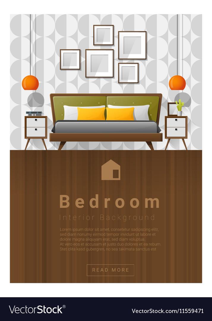 Interior design Modern bedroom banner 5 vector image