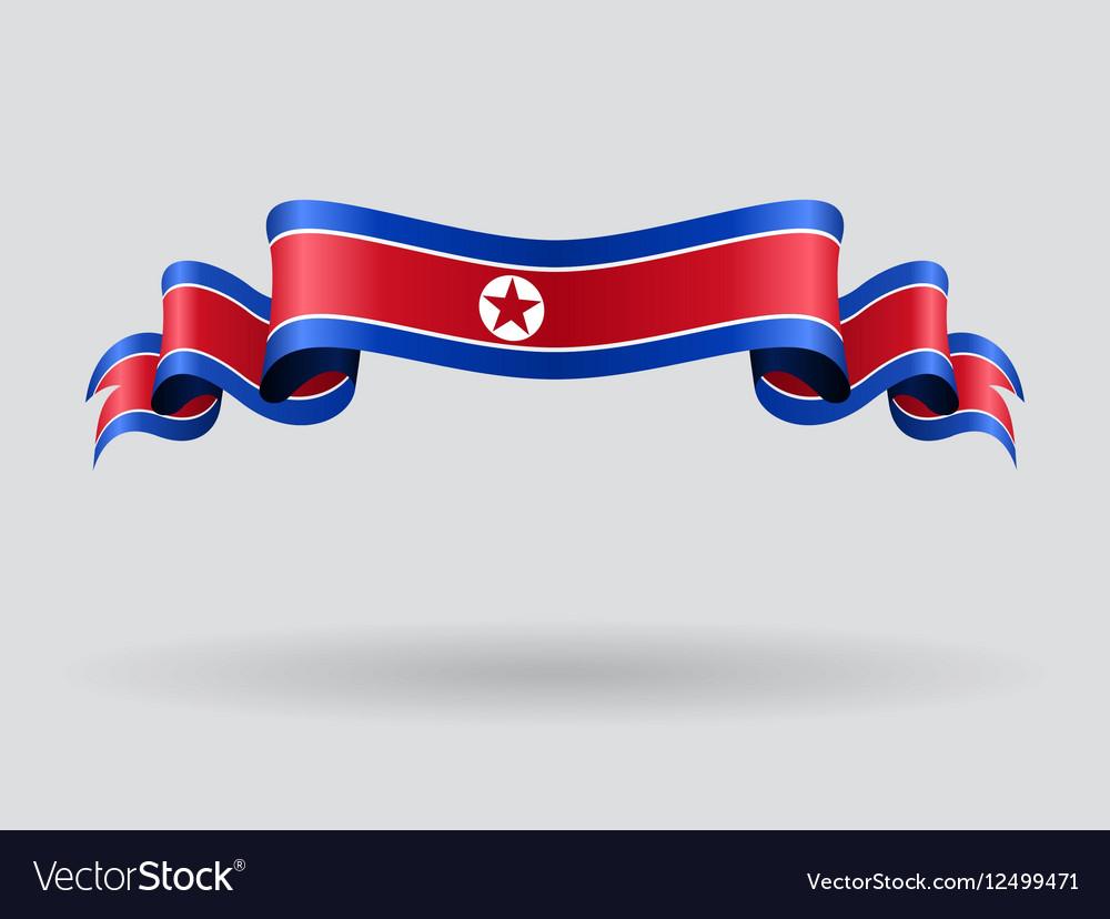 North Korean wavy flag vector image