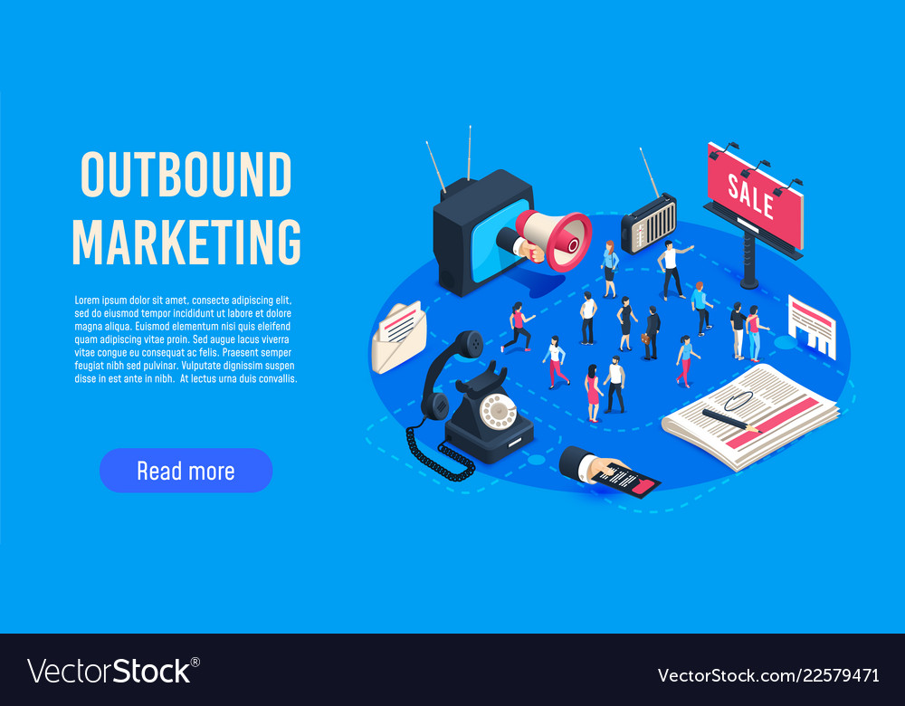 Outbound marketing isometric business market