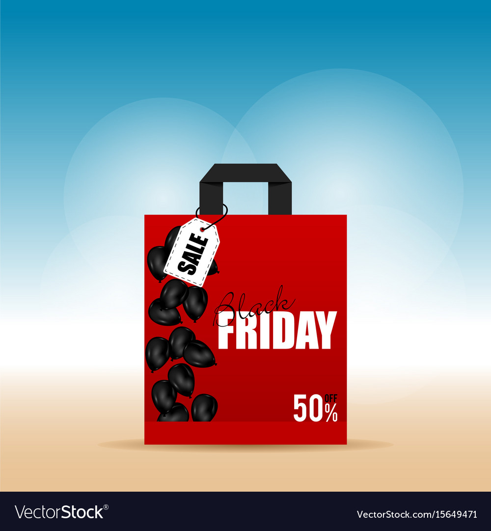 Paper bag red with black friday on it vector image