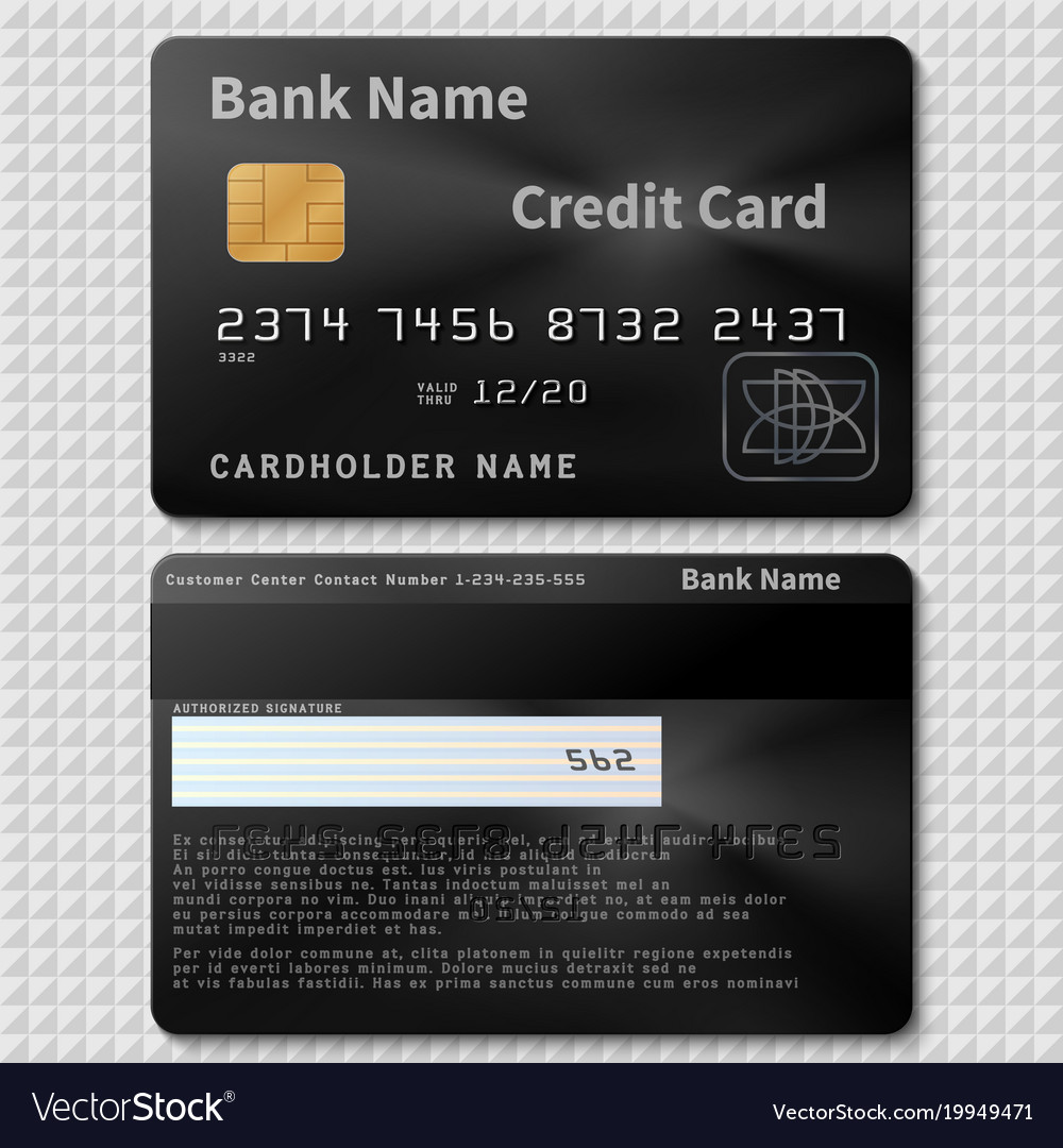 realistic black bank plastic credit card with chip vector image - Plastic Credit Card
