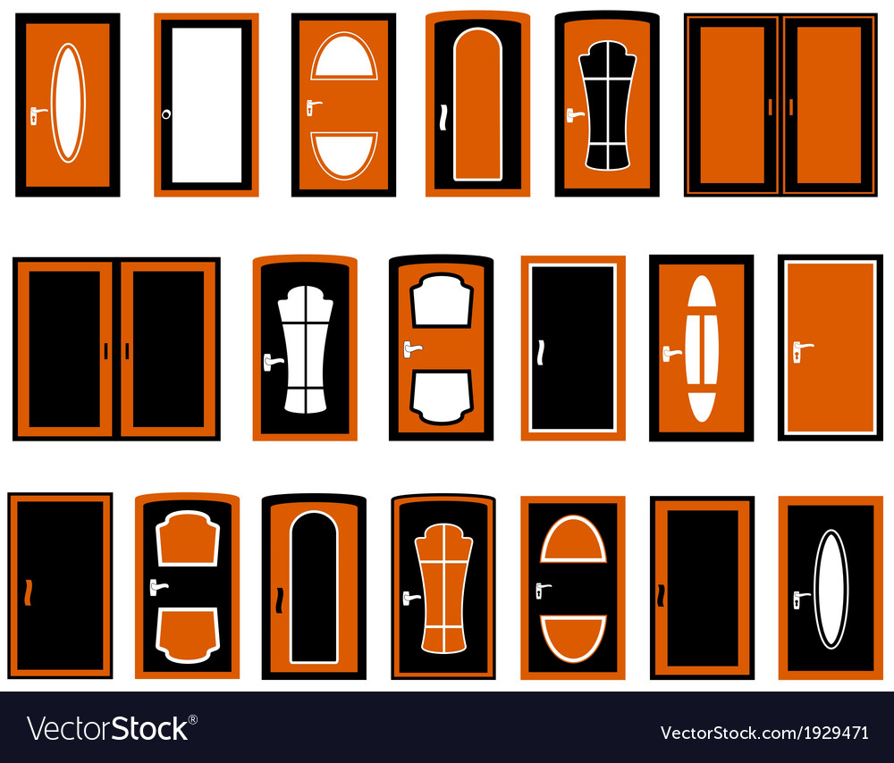 Set isolated doors silhouette