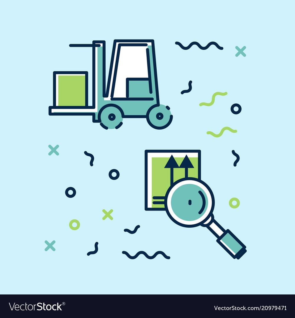 Set of icons infographics on logistics