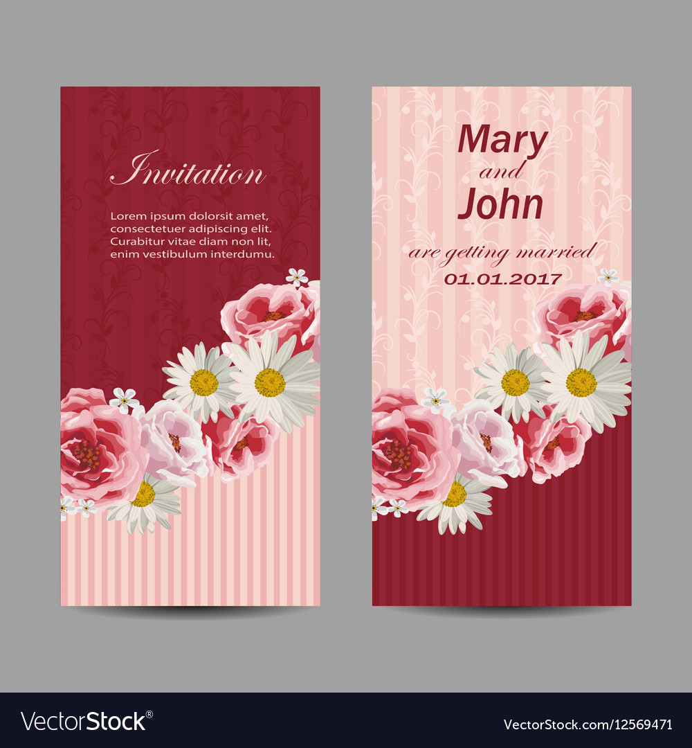 Set Of Wedding Invitation Cards Design