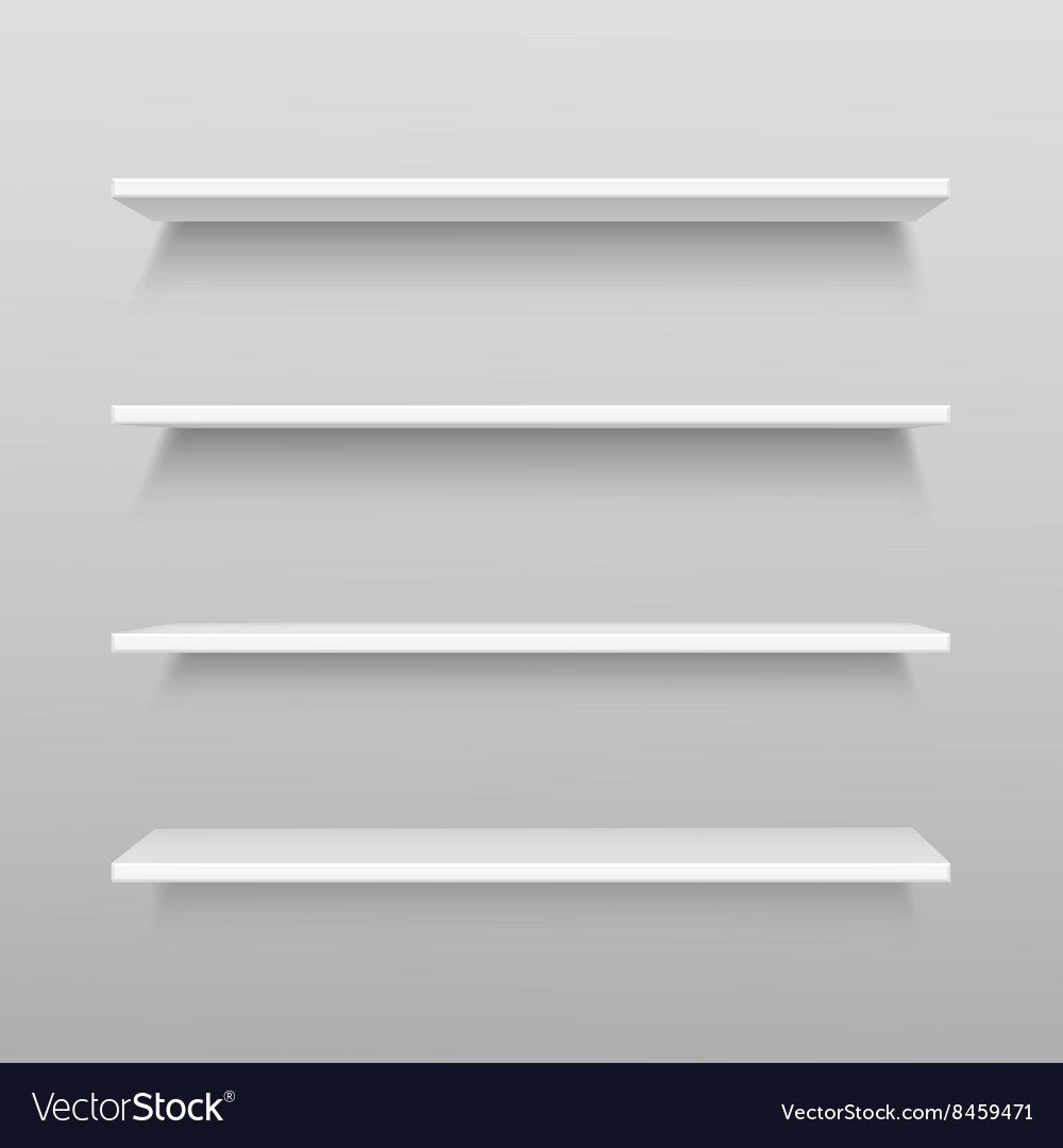 Shelf Shelves Isolated On Wall Vector Image