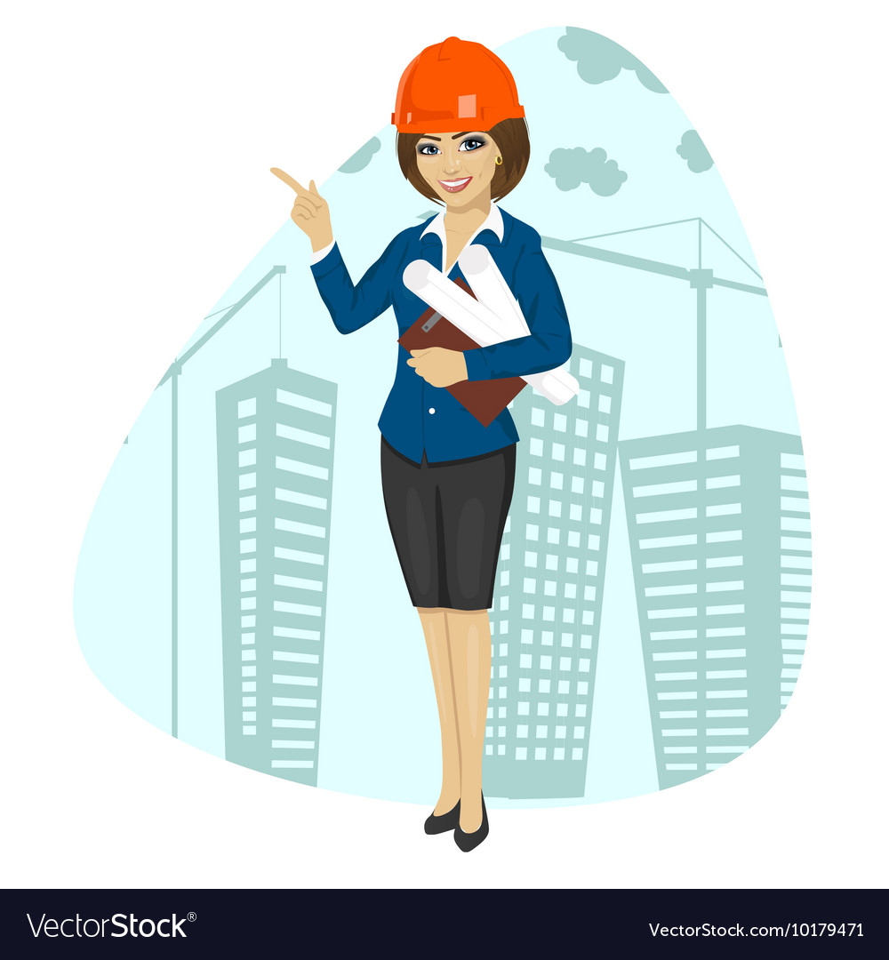 woman construction worker wearing hard hat vector image