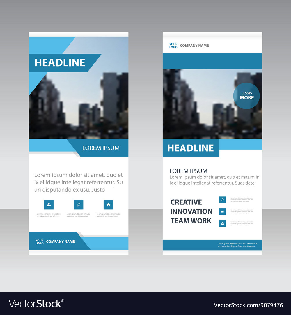 Blue simple business roll up banner templates set vector image fbccfo
