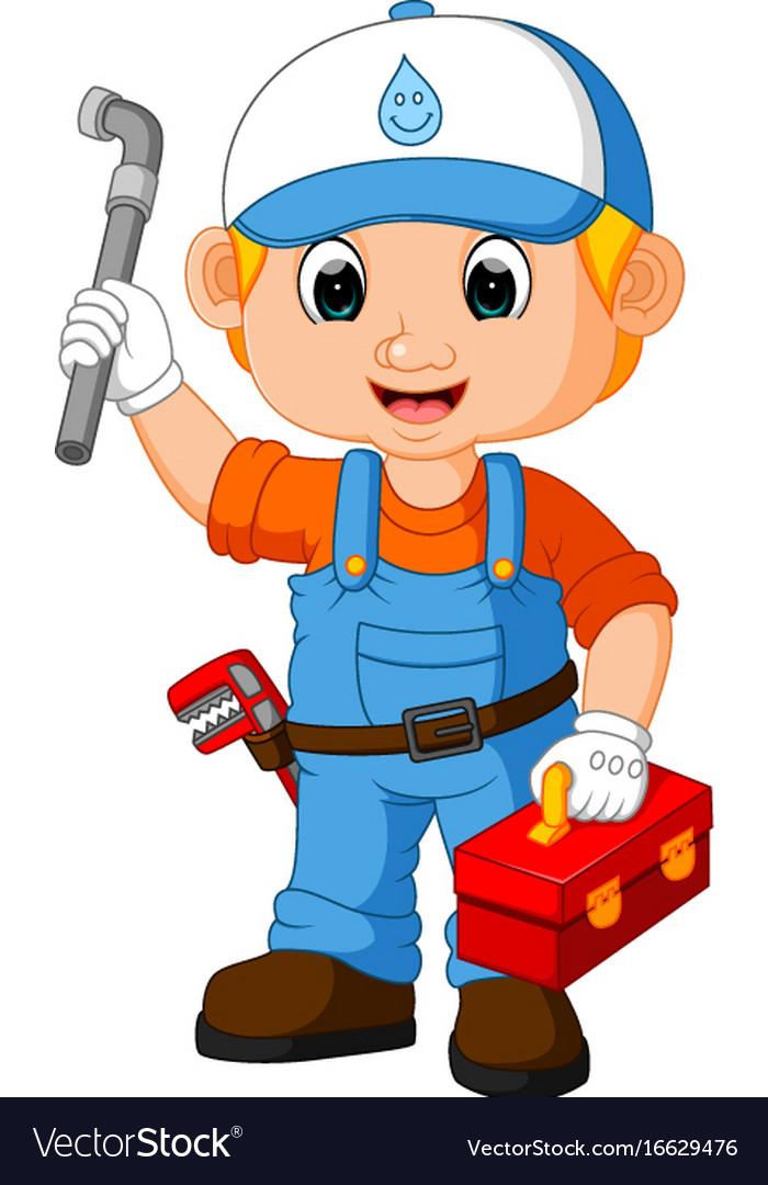 Cartoon cute plumber boy vector image