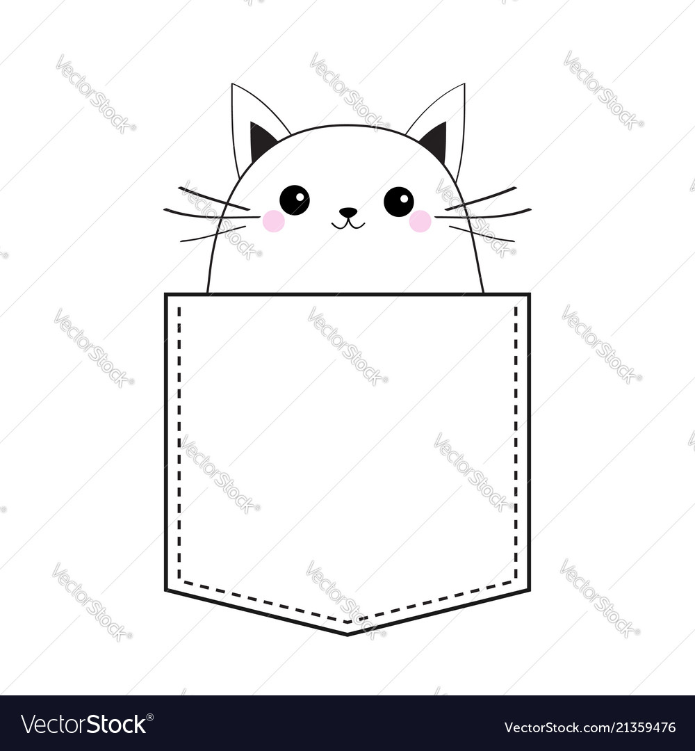 Cat in the pocket doodle linear sketch pink