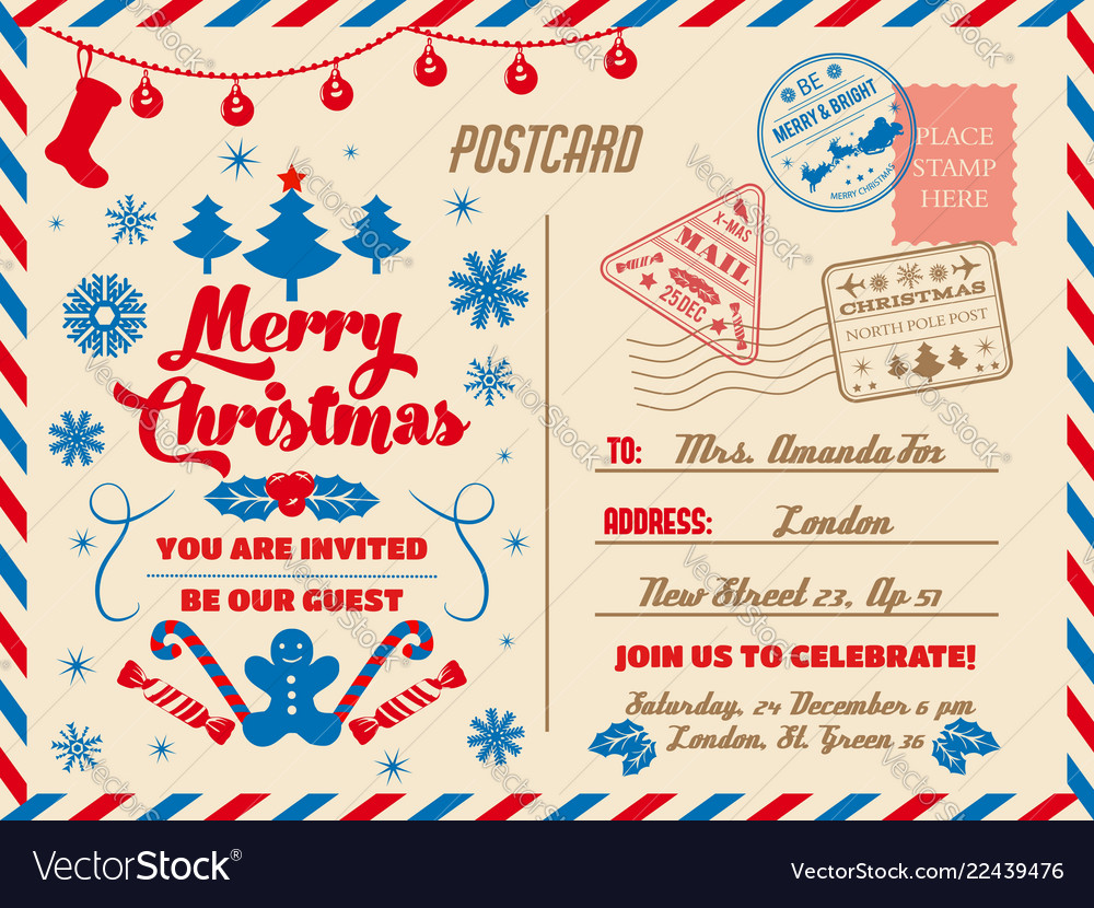 Christmas postcard holiday party invitation