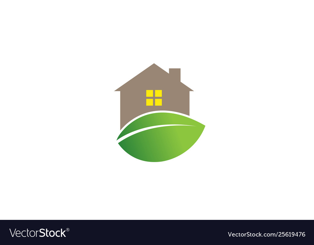 Creative house leaf logo design symbol