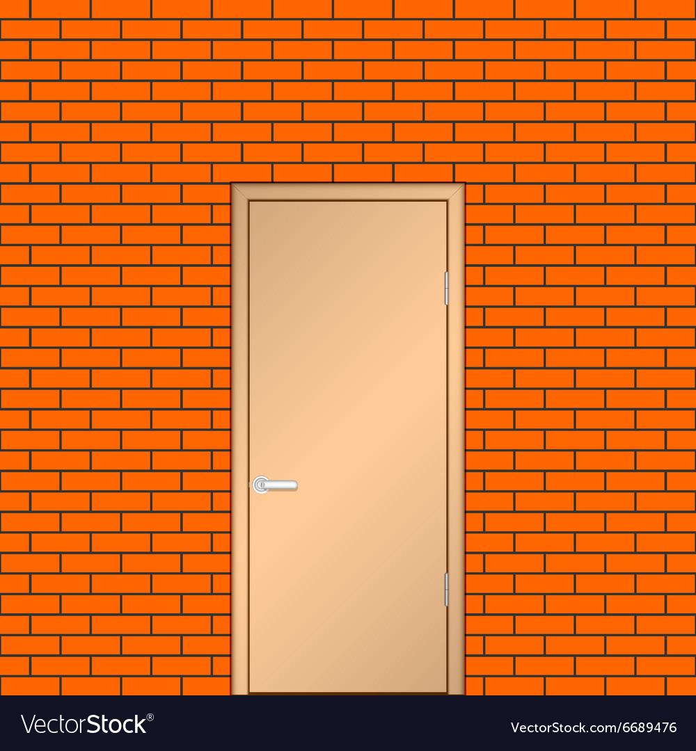 Door on a brick wall vector image