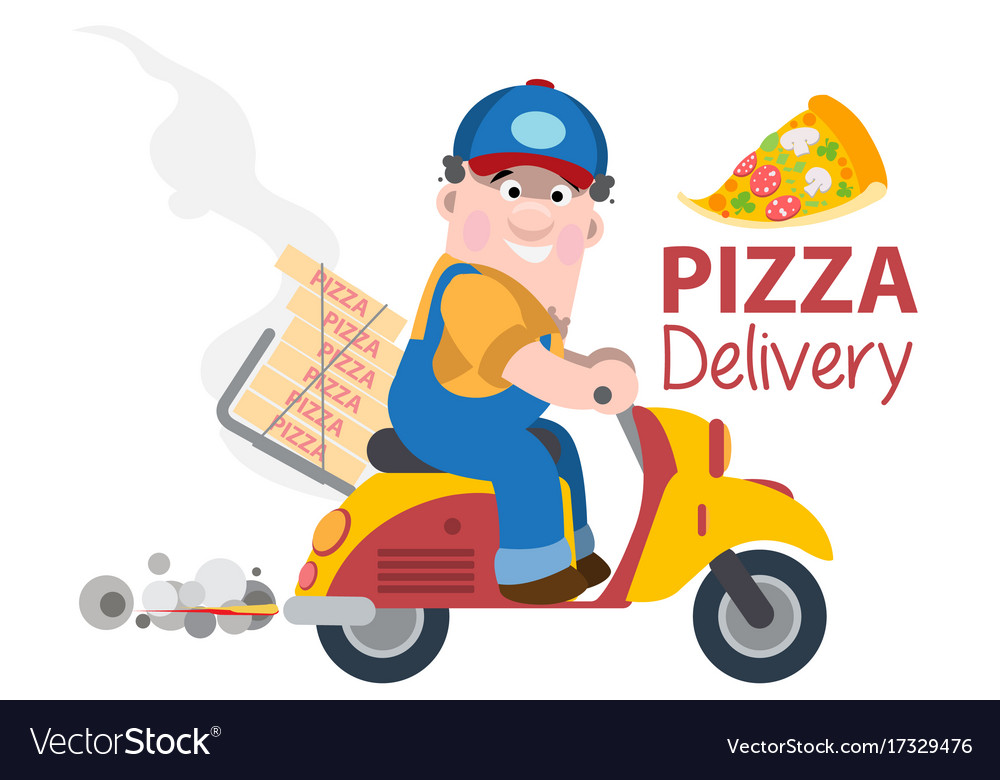 fast delivery pizza on a moped royalty free vector image