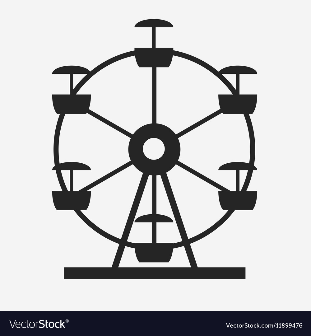 Ferris Wheel Icon Silhouette Entertainment Round