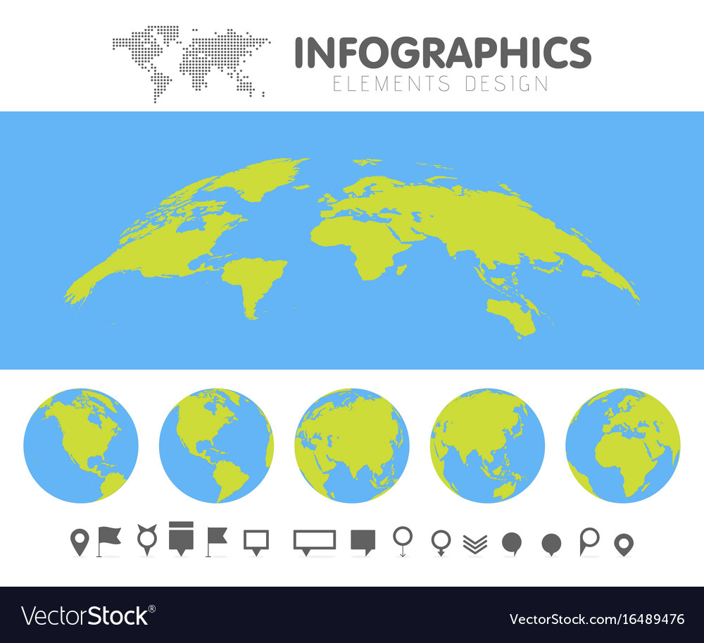 Green and blue cartoon world map globe and pins