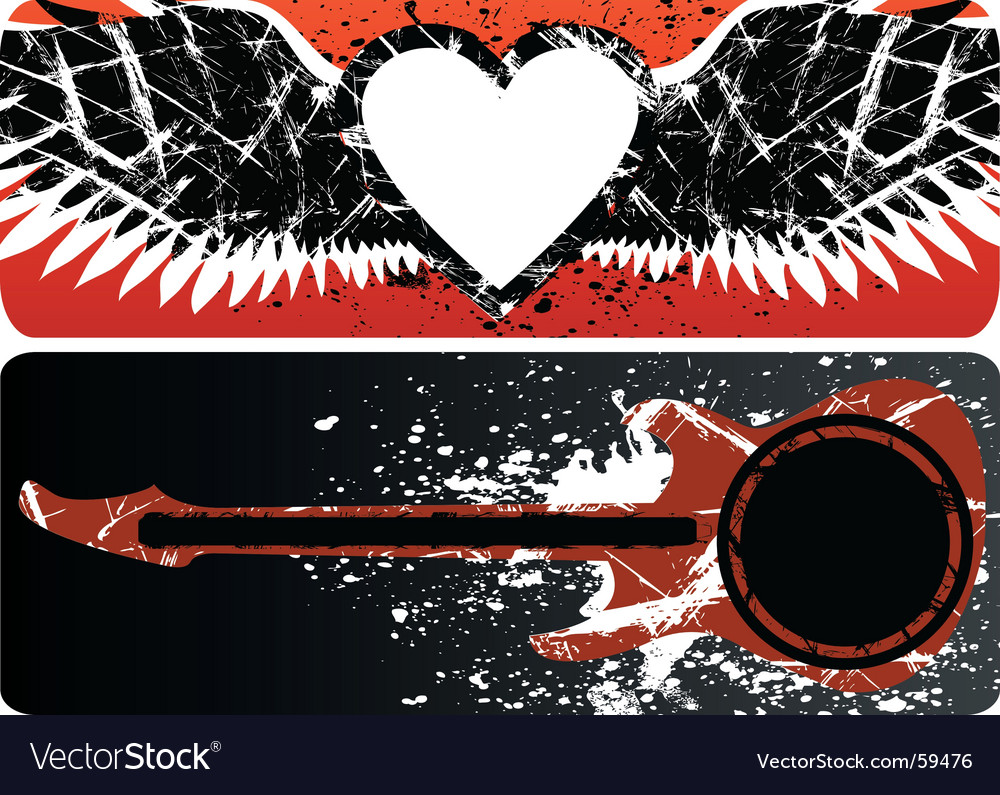 Heart and guitar vector image