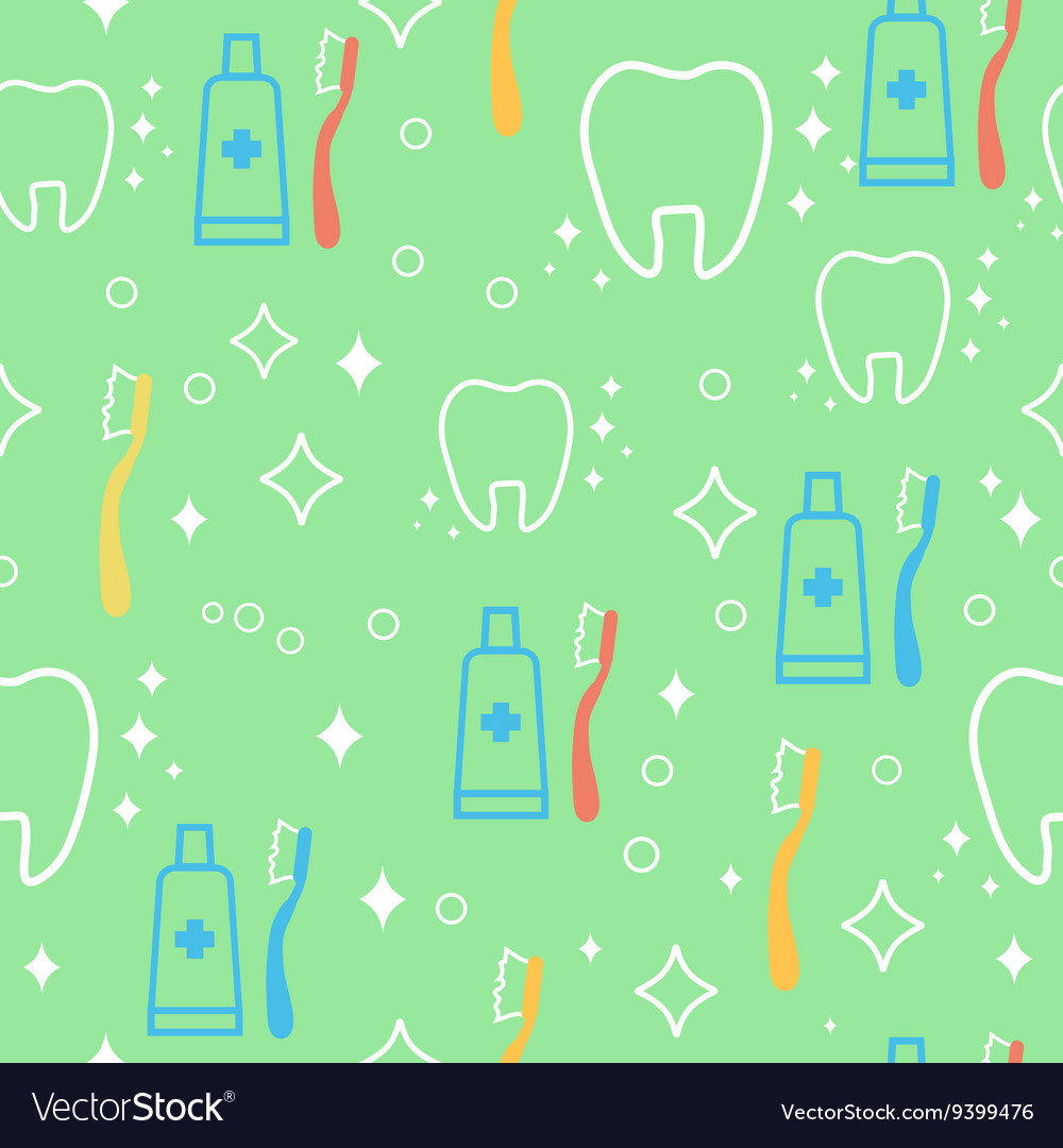 Seamless pattern with teeth an toothbrushes