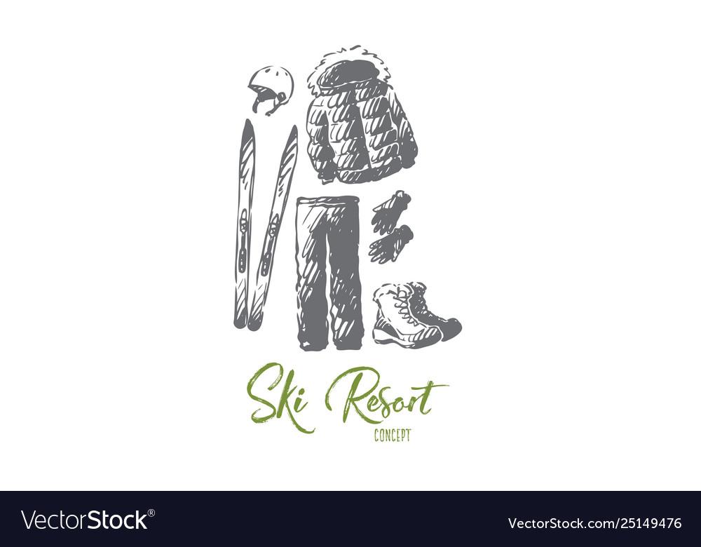 Ski resort winter equipment clothing concept