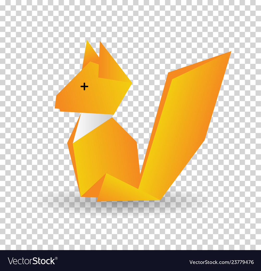 Squirrel colored origami style icon element of