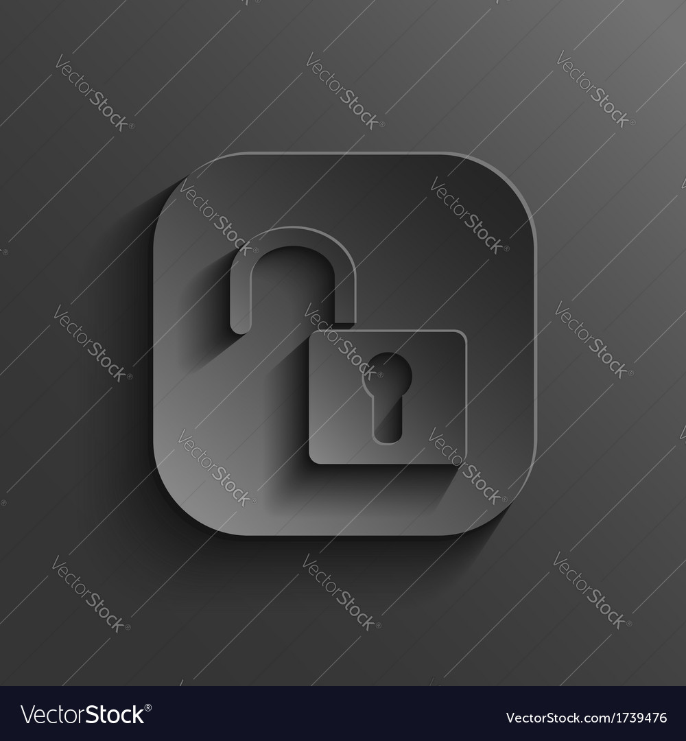Unlock icon - black app button