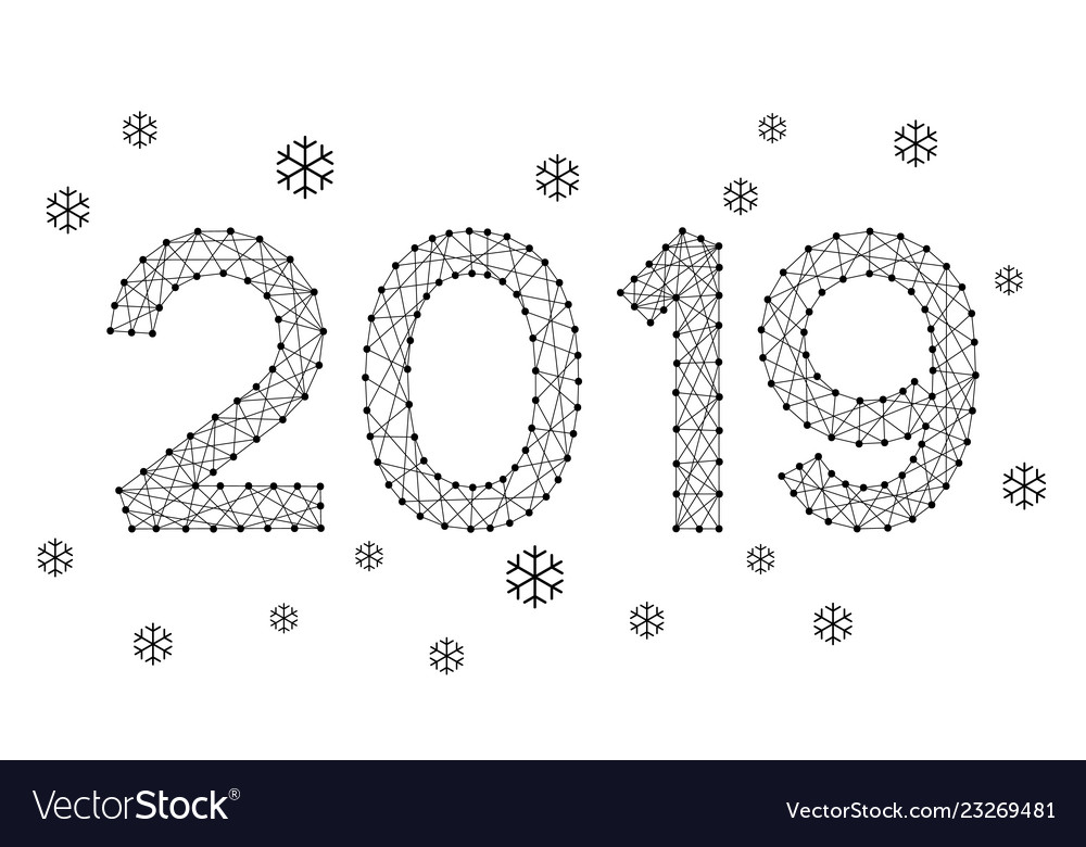 2019 date number new year holiday with snowflakes
