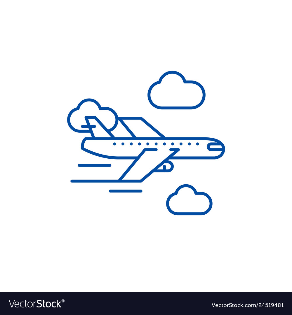 Airplane line icon concept airplane flat
