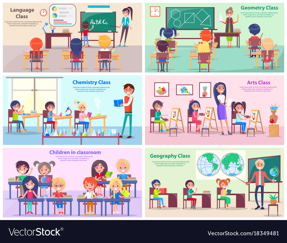 Children in classrooms study subjects with teacher vector image