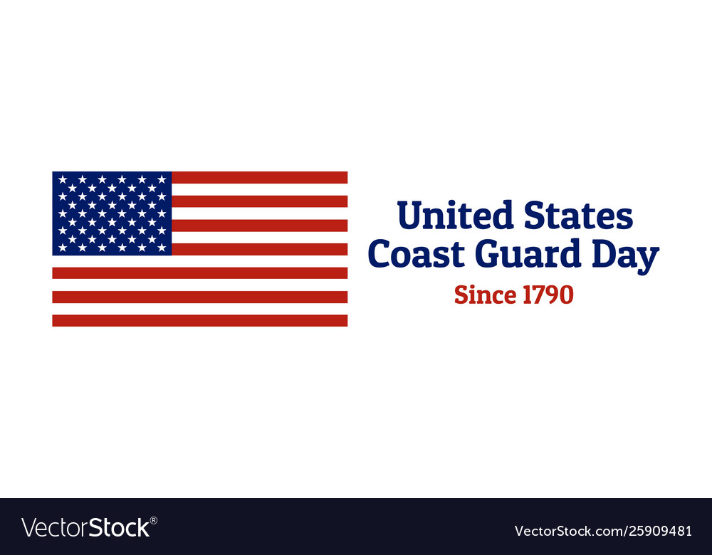 Coast guard day holiday background with national