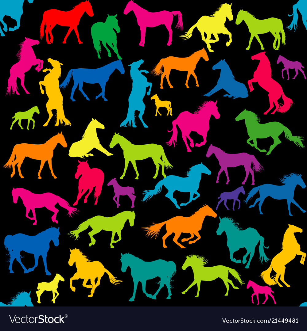 Colored seamless with horses silhouettes