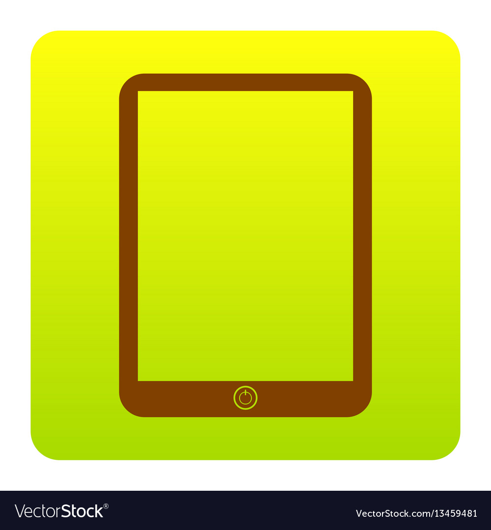 Computer tablet sign brown icon at green