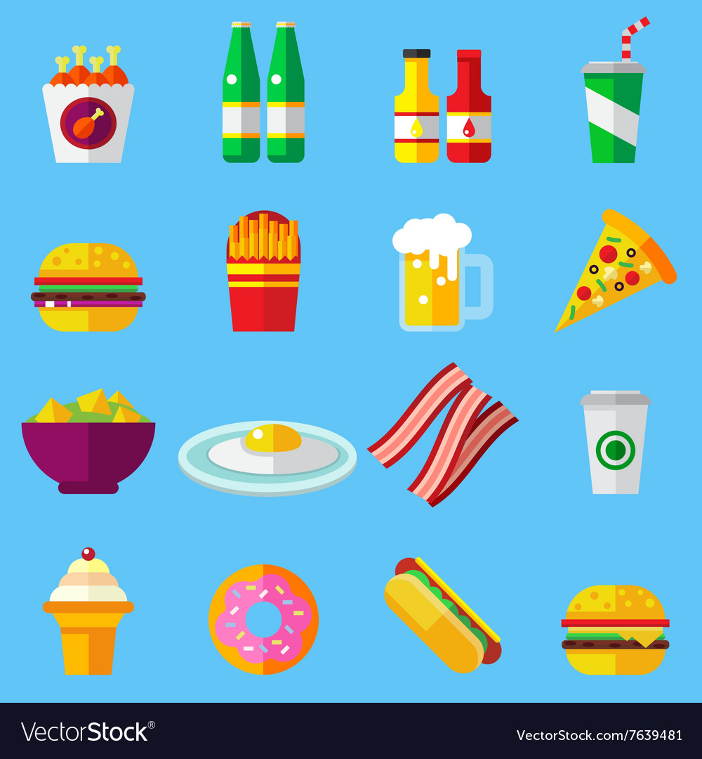 Fast food design icons set for web and mobile