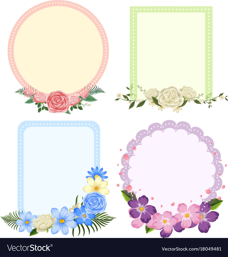 Four designs of flower frames in different shapes Vector Image