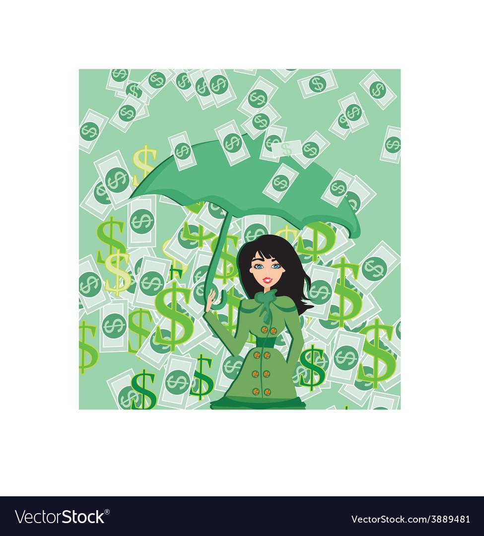 Happy woman holding an umbrella in a money rain vector image