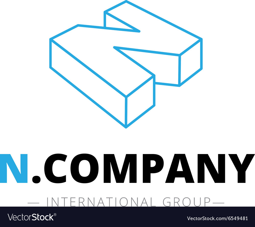 Isometric line style N letter logo Company vector image