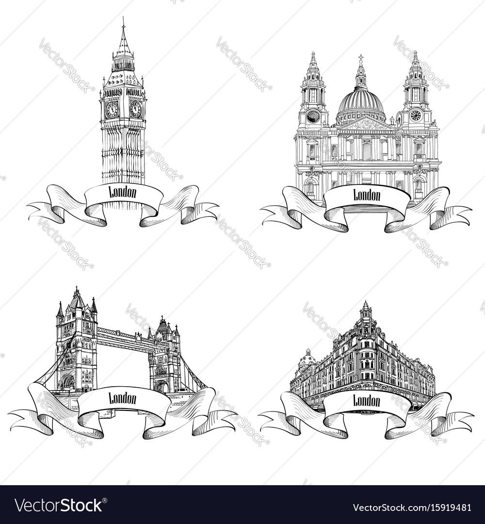London famous buildings set engraving collection