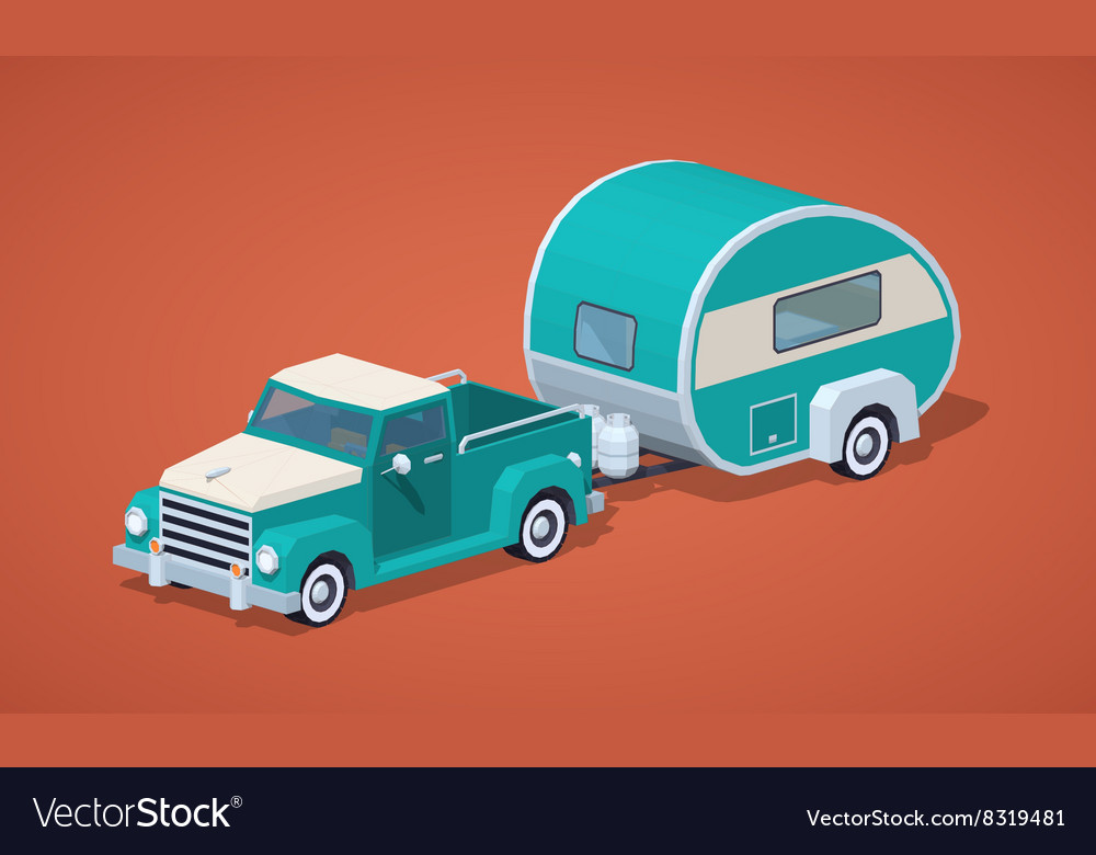 Low poly turquoise retro pickup with motor home