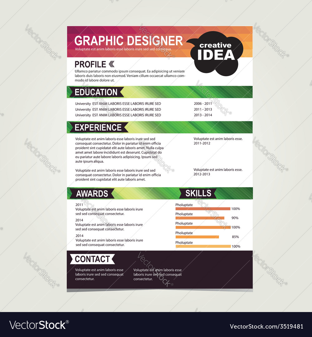 resume template cv creative background vector image - 2014 Resume Template