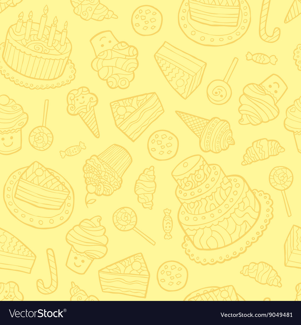 Seamless pattern with sweets on a yellow
