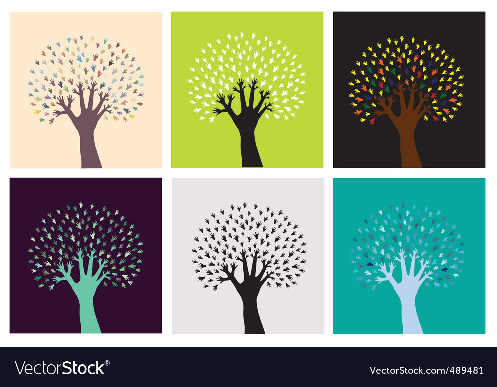 Set of abstract hand trees