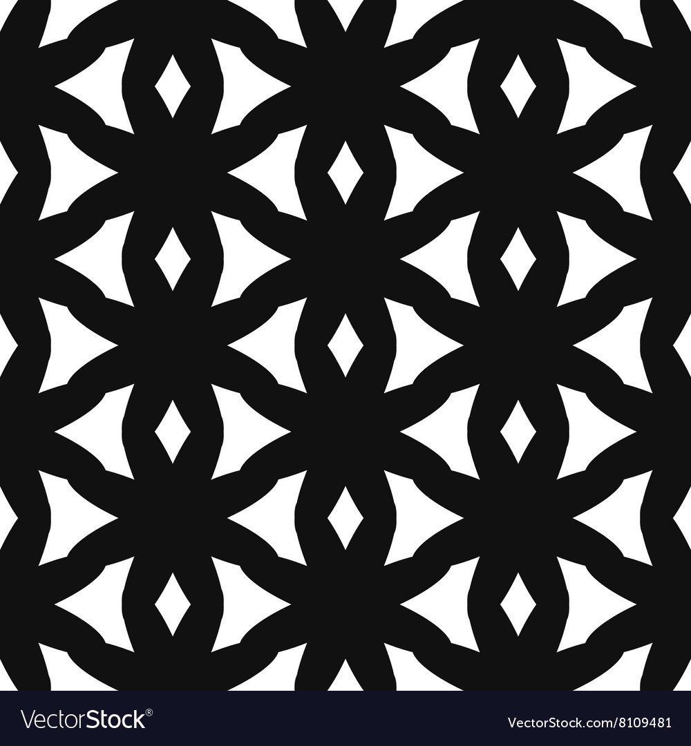 Simple star shape black and white seamless pattern