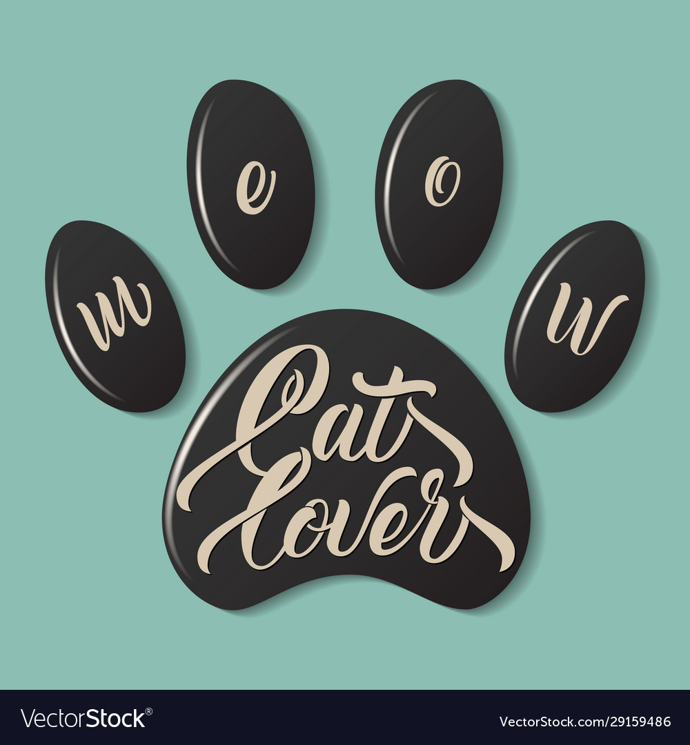Cat paw fingerprint with lettering meow cat lover