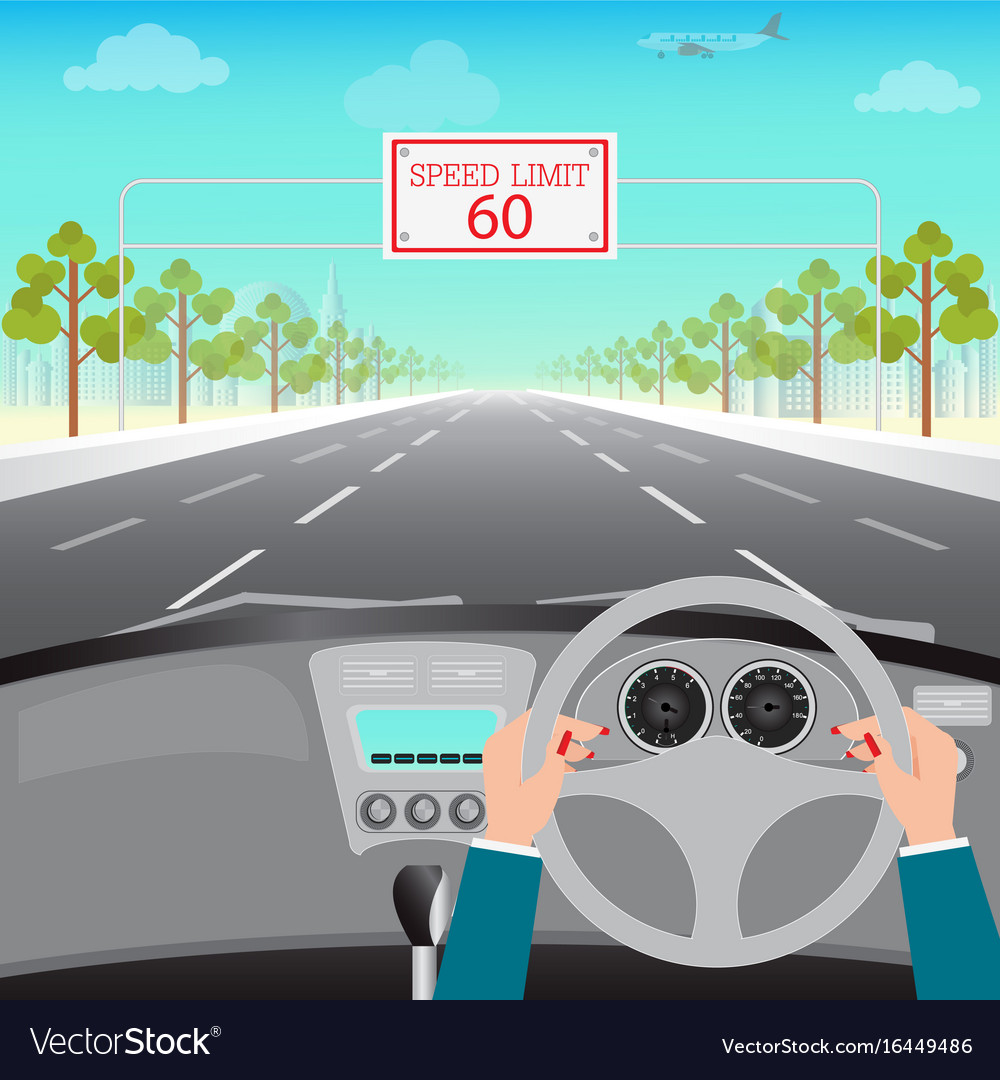 Human hands driving a car on asphalt road with vector image