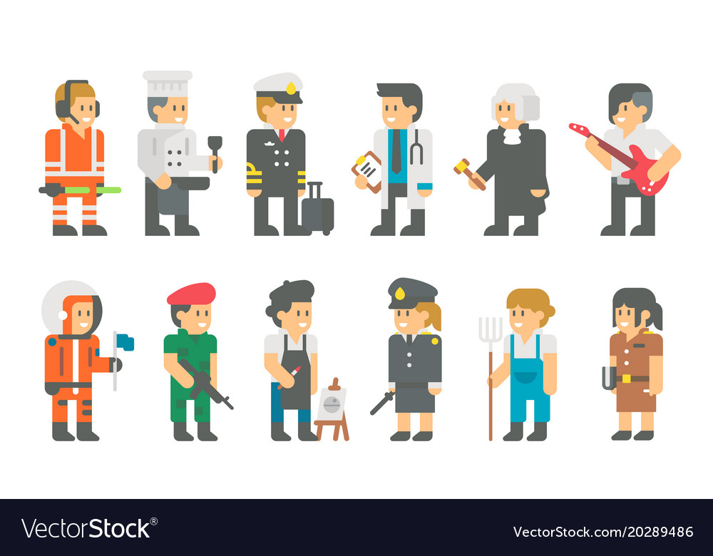 Kids with uniforms flat cartoon design vector image