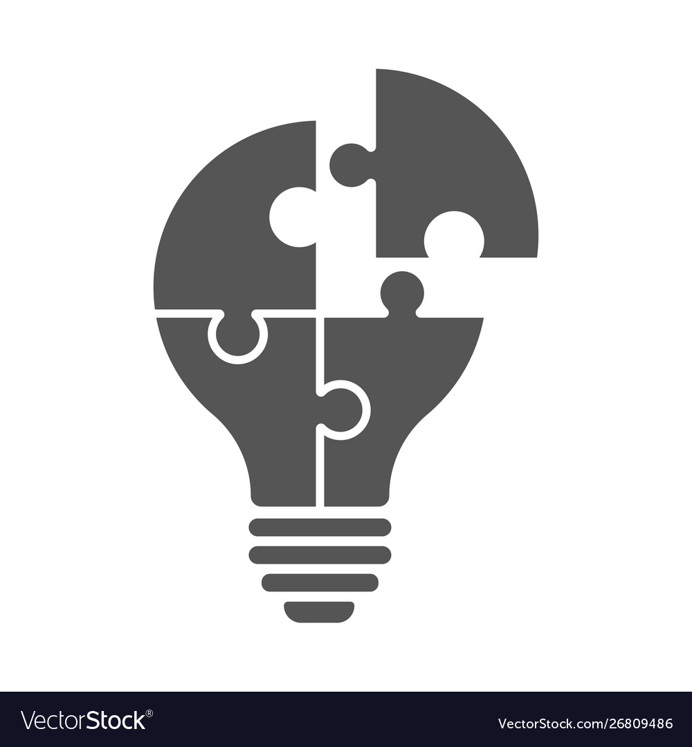 Logo with lamp in puzzle view isolated on white