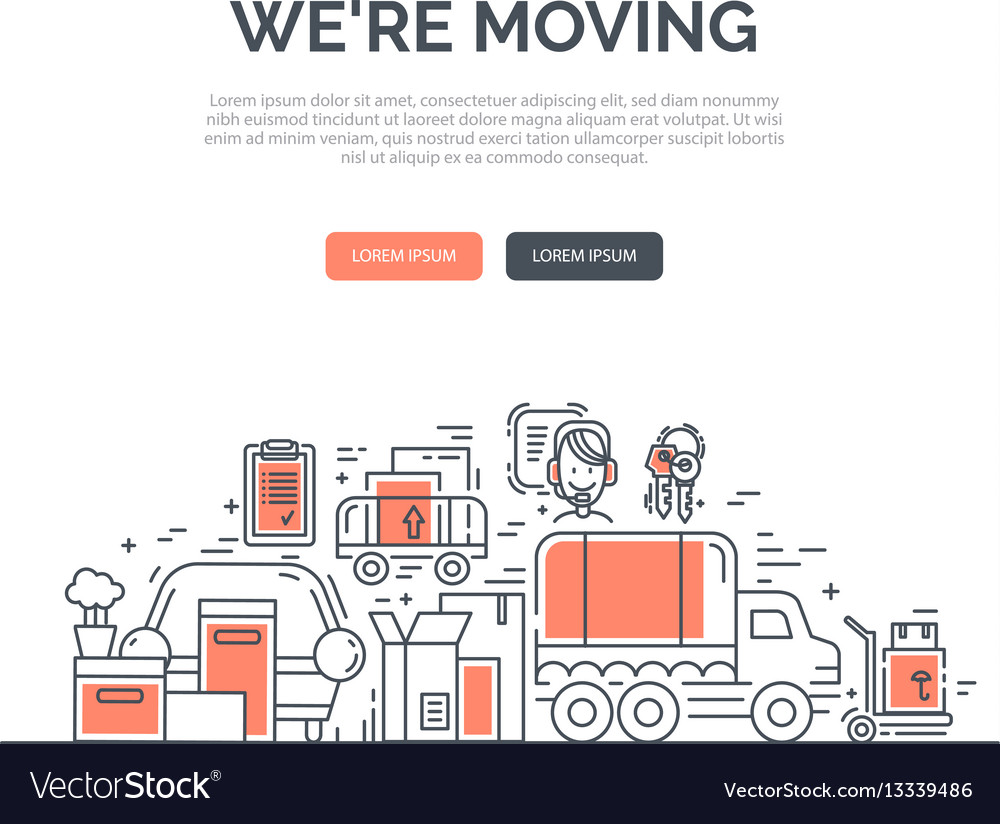 Moving and delivery template with line icons