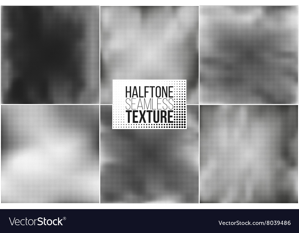Set of 6 halftone seamless backgrounds