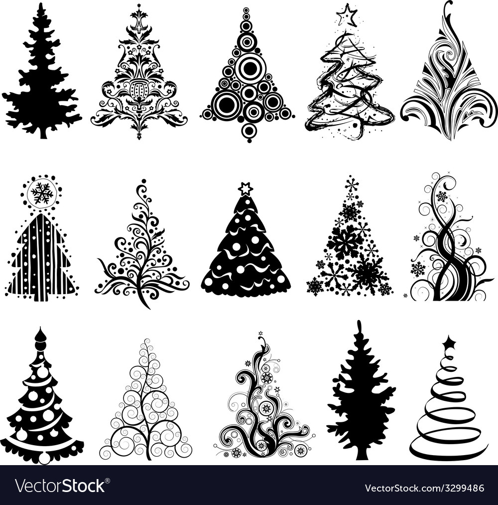 Set Of Luxury Christmas Trees Royalty Free Vector Image