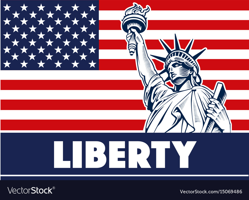 Statue of liberty usamap flag and symbol