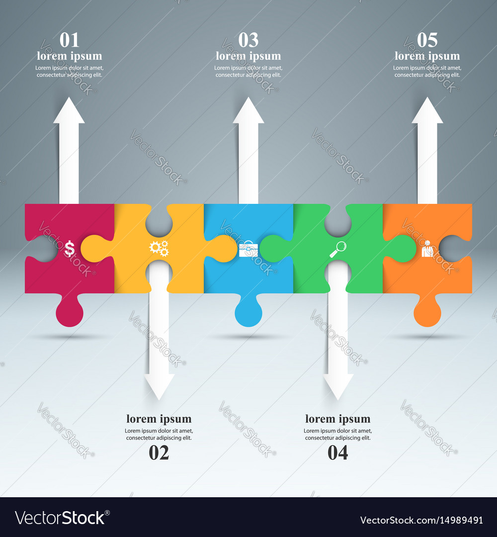 Abstract infographic puzzle icon vector image
